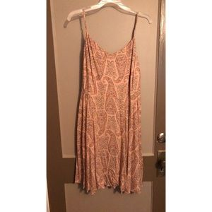 peach fit and flare dress with paisley design